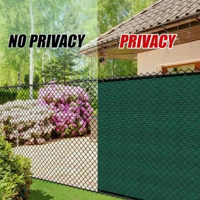 5 ft. x 50 ft. Heavy-Duty PLUS Green Privacy Fence Screen Mesh Fabric with Extra-Reinforced Grommets for Garden Fence