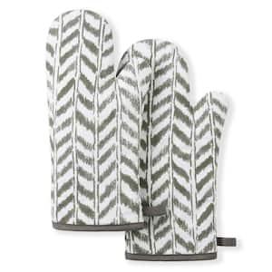 Maui Herringbone Cotton Grey/White Oven Mitt Set (2-Pack)