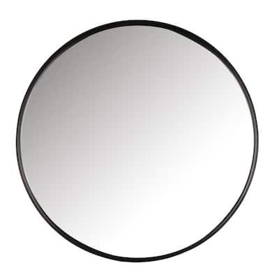 34 in. DIA Black Metal Framed Round Large Mirror