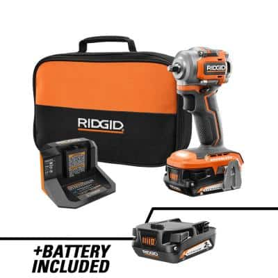 18V SubCompact Brushless Cordless 3/8 in. Impact Wrench Kit with 2.0 Ah Battery, 18V Charger, and Extra 2.0 Ah Battery