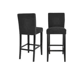 Banford Ebony Wood Upholstered Bar Stool with Back and Black Seat (Set of 2) (17.51 in. W x 44.29 in. H)