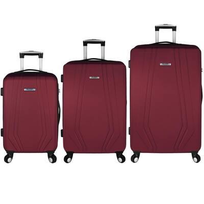 Paris 3-Piece Red Hardside Spinner Luggage Set