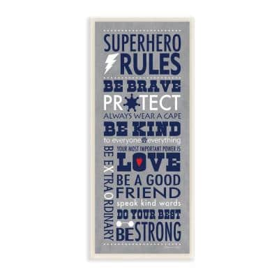 """7 in. x 17 in. """"Grey and Navy Superhero Rules Typography"""" by Stephanie Workman Marrott Wood Wall Art"""