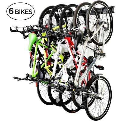 6-Bike Wall Mounted Garage Bike Storage Rack