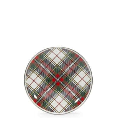 Highland Plaid 8 in. Enamelware Round Sandwich Plate Set of 4