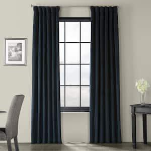 Midnight Blue Velvet Rod Pocket Blackout Curtain - 50 in. W x 120 in. L