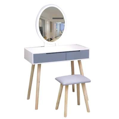 Modern Vanity Table Set with Adjustable Brightness Mirror