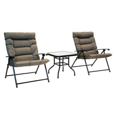 Patio Premier 3-pc Steel Frame Folding Outdoor Bistro Set with Olive Cushions and Dark Powder Frame