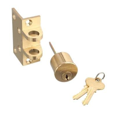 Deadbolt, Solid Bronze Alloy, Brushed Brass, Angle and Flat Strike, Single Cylinder