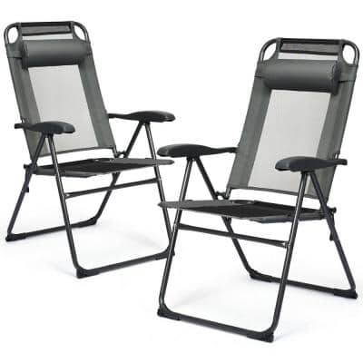 Gray Adjustable Folding Metal Outdoor Recliner Chairs (2-Pack)