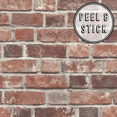 Brick Red Vinyl Peelable Roll (Covers 30.75 sq. ft.)