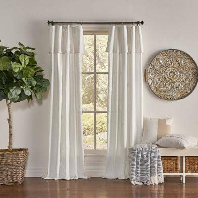 Drop Cloth 50 in. W x 108 in. L Cotton Curtain Panel in Off White