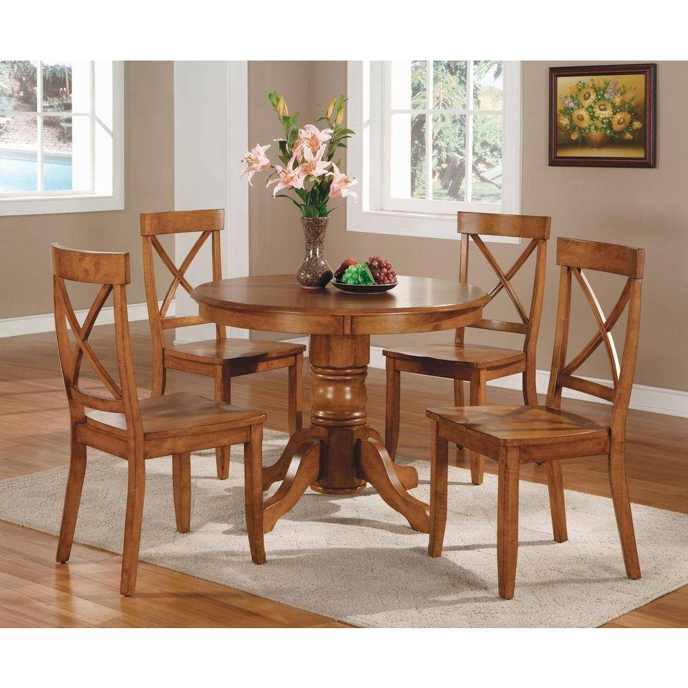 Homestyles 5 Piece Oak Dining Set 5179 318 The Home Depot