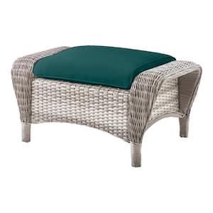 Beacon Park Gray Wicker Outdoor Patio Ottoman with CushionGuard Malachite Green Cushions