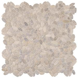 Sliced Pebble Ash 12 in. x 12 in. x 10 mm Tumbled Marble Mosaic Tile (9.7 sq. ft. / case)