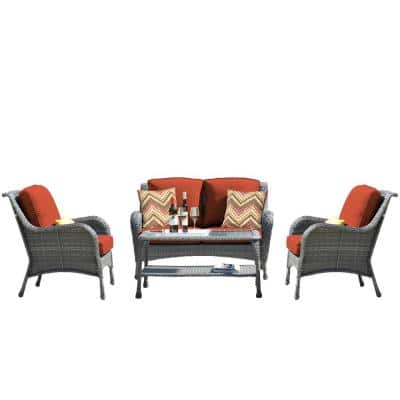 Natural Gray 4-Piece Wicker Patio Conversation Sectional Sofa w/ Red Cushions