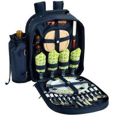 Deluxe Equipped 4-Person Picnic Backpack in Navy and Trellis Green