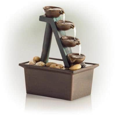 8 in. Tall Indoor/Outdoor 4-Tier Step Tabletop Fountain with Rustic Bowls