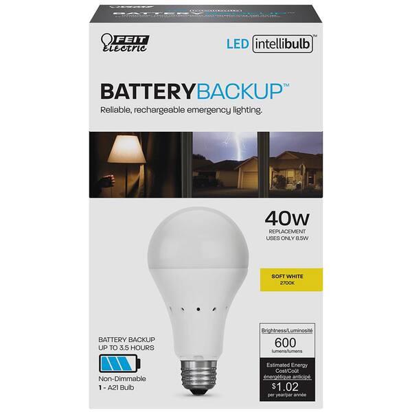 Feit Electric 40 Watt Equivalent Soft White 2700k A21 Intellibulb Battery Backup Led Light Bulb A800 827 Bat Ledi The Home Depot
