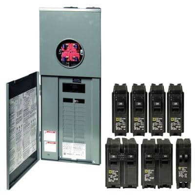 Homeline 200 Amp 20-Space 40-Circuit Outdoor Ring-Type Overhead Service Surface Mount Main Breaker CSED Value Pack