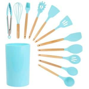 Light Teal Silicone and Wood Cooking Utensils (Set of 12)