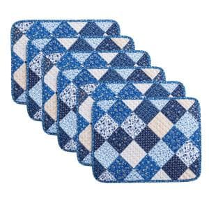 Olivia 19 in. x 13 in. Blue Quilted Microfiber Placemat (Set of 6)