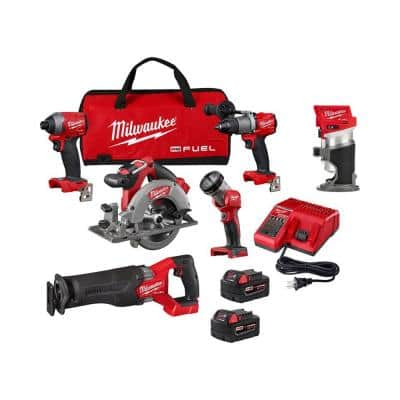 M18 FUEL 18-Volt Lithium-Ion Brushless Cordless Combo Kit (5-Tool) W/ FUEL Compact Router