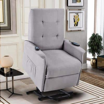 Light Gray Power Lift Recliner with Adjustable Massage