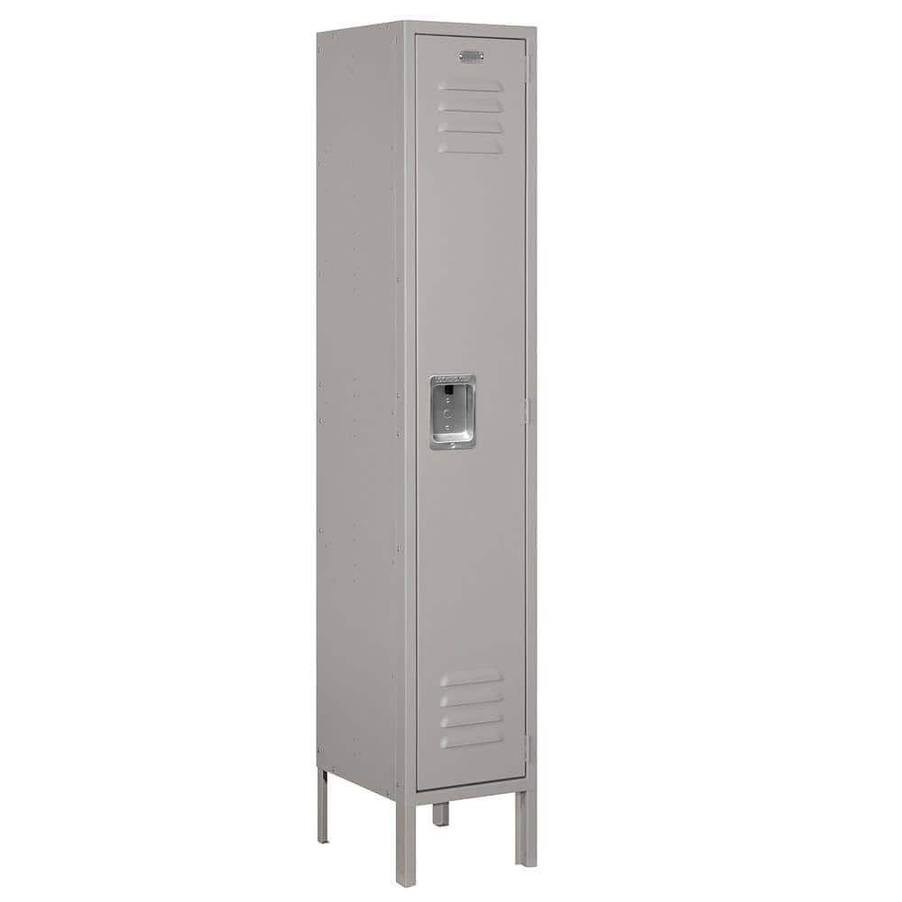 Salsbury Industries 61000 Series 12 In W X 66 In H X 12 In D Single Tier Metal Locker Unassembled In Gray 61152gy U The Home Depot