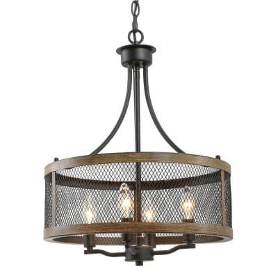 Black Drum Chandelier, Farmhouse 4-Light Cage Black and Bronze Modern Round Chandelier for Foyer with Faux Wood Accents