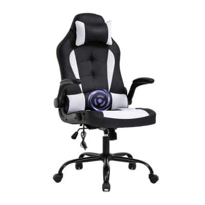 26.8 in. Width Big and Tall Black and White Mesh Gaming Chair with Tilt Control