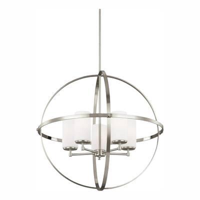 Alturas 5-Light Brushed Nickel Modern Hanging Globe Chandelier with LED Bulbs