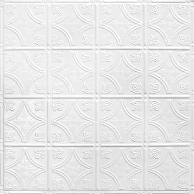 Pattern #3 24 in. x 24 in. Bright White Satin Tin Wall Tile Backsplash Kit (5 pack)