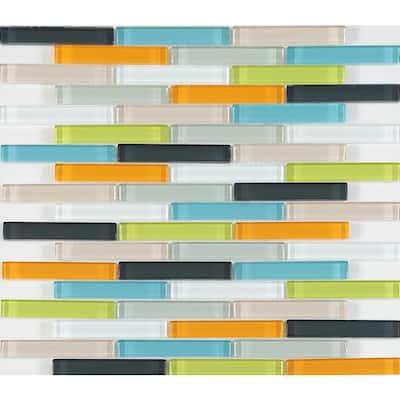 CHENX 11.81 in. x 13.58 in. x 6 mm Glass Backsplash in Multi-Colors (12.42 sq. ft./Case)