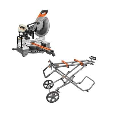 15 Amp Corded 12 in. Dual Bevel Sliding Miter Saw with Universal Mobile Miter Saw Stand with Mounting Braces