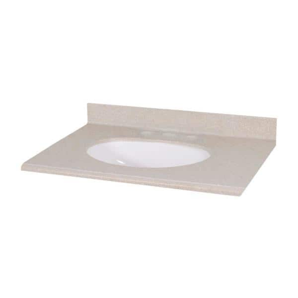 Pegasus 31 In W Solid Surface Vanity Top In Sandstone With White Bowl Ss31p S The Home Depot
