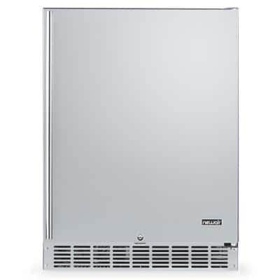 24 in. 160 Can Built-In Outdoor Cooler Fridge with Auto-Closing Door and Easy Glide Casters Weatherproof Stainless Steel