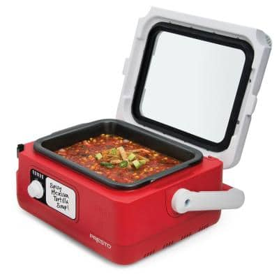 6 Qt. Nomad-Traveling Red Insulated Slow Cooker with Locking Lid