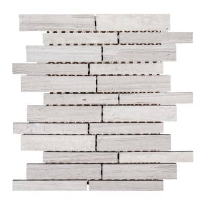 Walden Gray 10 in. x 12 in. Interlocking Limestone Mosaic Tile (0.833 sq. ft./Each)