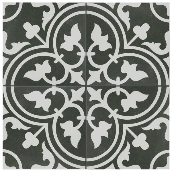 Merola Tile Take Home Sample Arte Black 9 3 4 In X Porcelain S1fcd10arb The Depot
