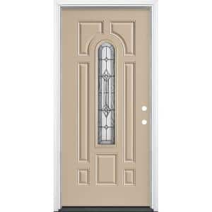 36 in. x 80 in. Providence Center Arch Painted Left Hand Steel Prehung Front Exterior Door with Brickmold