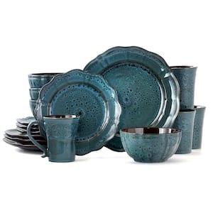16-Piece Modern Blue Stoneware Dinnerware Set (Service for 4)