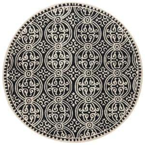 Cambridge Black/Ivory 4 ft. x 4 ft. Round Area Rug