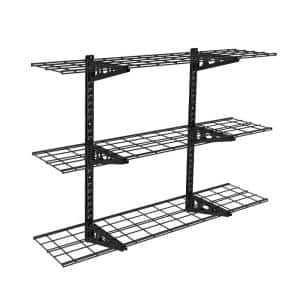 12 in. x 48 in. Steel Garage Wall Shelving in Black (3-Pack)