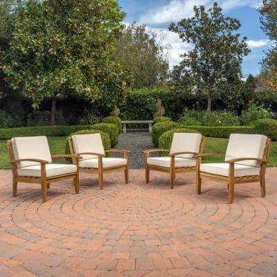 Galilea Deep Seating Wood Outdoor Lounge Chair with Beige Cushions (4-Pack)
