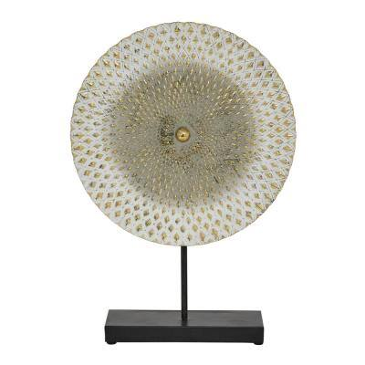 Gray and White Metal Mandala Table Decor with Gold Accents, 14 in. x 20 in.