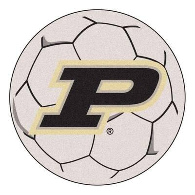 NCAA Purdue University P Logo Cream 2 ft. x 2 ft. Round Area Rug
