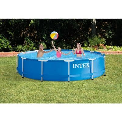12 ft. x 30 in. Rpund Metal Frame Above Ground Swimming Pool, Filter and Skimmer