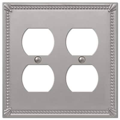 Imperial Bead 2 Gang Duplex Metal Wall Plate - Brushed Nickel