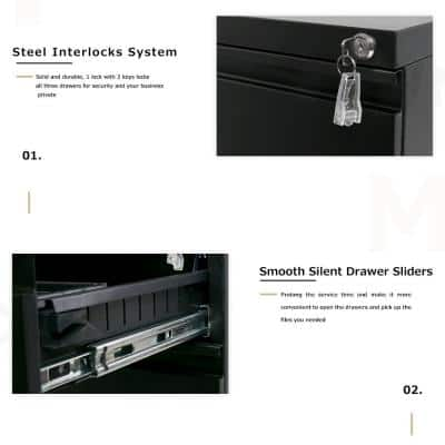 Black 3-Drawer Decorative Lateral File Cabinet Mobile Metal File Cabinet with Keys